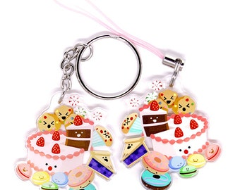 Cute Desserts Keychain, Cute Desserts Phone Charm, desserts, japan, kawaii food, kawaii cake, cute anime, cute food, donuts, cookies, candy