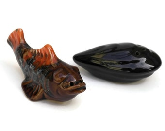 French Vintage Ceramic Fish and Mussel Salt and Pepper Cellars.