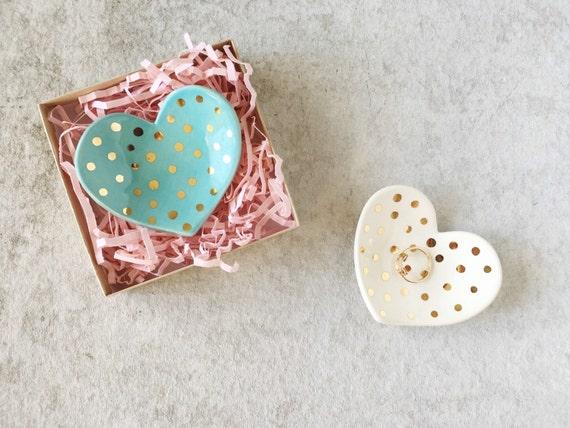 polka dot heart ring dish