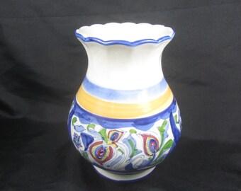 Shabby chic decor,Vintage vase ,Flower design, ceramic vase, floral vase, shabby chic vase, yellow vase