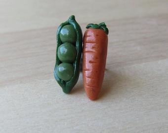 Tiny Peas Carrots Studs, Peapod and Carrot Earrings, Nickel Free Titanium, Sensitive Ears, Funny Vegetable Jewelry, Foodie Gardener Gift