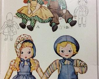 """McCalls 1158 UNCUT Sam & Sue Stuffed Rag Dolls 1940s Vintage Sewing Pattern 18 - 19"""" Rag Dolls Boy and Girl Stuffed Dolls"""