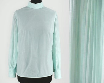Button Back Blouse W/ Sheer Pleated Sleeves