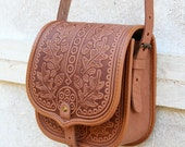 tooled light brown leather bag - shoulder bag - crossbody bag - handbag - ethnic bag - messenger bag - for women - capacious