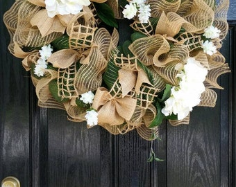 Large Elegant Spring Summer Mothers Day Year Round Mesh Burlap Wreath Wedding White Hydrangeas Floral