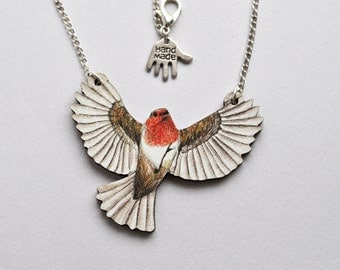 Flying Robin Bird Necklace - Illustrated Wooden Jewellery