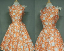 SUMMER SALE NEW Vintage 50s Dress / McKay Miami Orange Dreamsicle Polished Cotton Fancy Garden Party Frock Original Tags