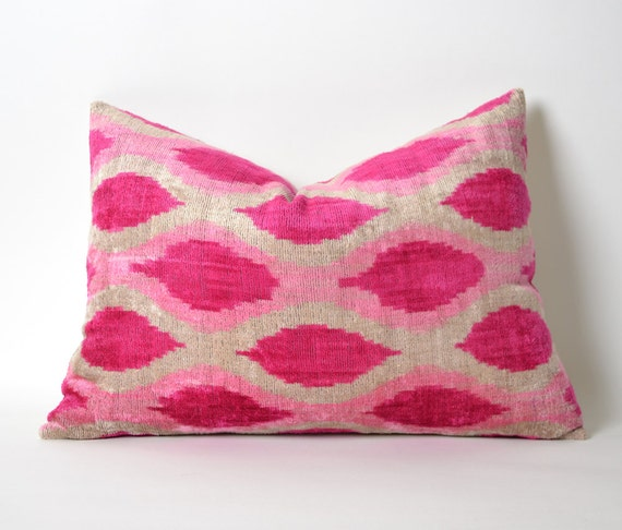 Pink Velvet Pillow Cover Silk Velvet Ikat Pillow Neon Pink
