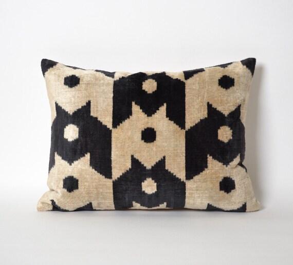 12x16 Ikat Velvet Pillow case throw pillows tribal black and