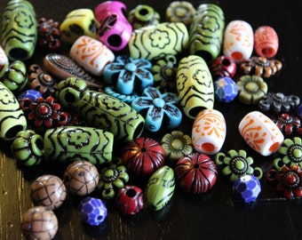 50 pieces antique acrylic beads and charms, mixed colors, mixed size and shape, 9-19mm