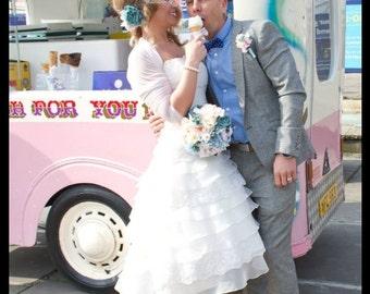 Wedding cover up/  White tulle bolero /jacket /wedding cover up/3/4 sleeves wedding  gown
