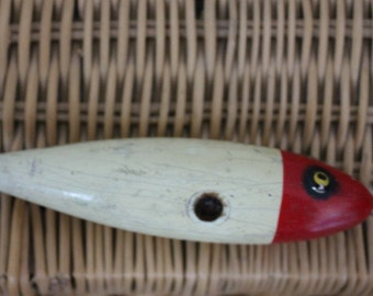 Wooden RedHead Fishing Lure c1930s