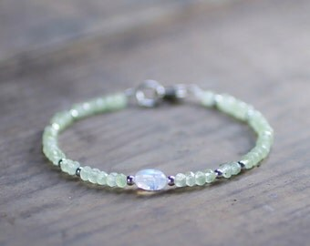 Delicate Prehnite & Moonstone Bracelet in Sterling Silver or Gold Filled Beads, White Pale Green Gemstone Bracelet, Beaded Prehnite Jewelry