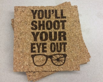 You'll Shoot Your Eye Out Coasters // A Christmas Story // Set of Four