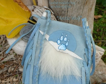 White Arctic Wolf Medicine Pouch - White Wolf Fur - soft light blue leather