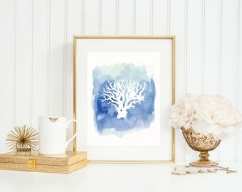 Coral in Navy Blue Watercolor, Beach Decor, Coral Art Print