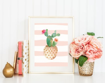 Cactus Print, Pink Stripes, Potted Cactus with Flowers, Watercolor Art