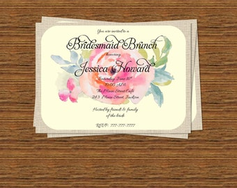 Bridesmaids Brunch Invitation Party For Bridesmaids Luncheon | Floral watercolor | burlap edging | Elegant