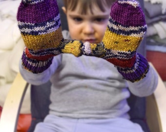 Childrens mittens in purple, yellow, red, hand knit toddler gloves, thumbless baby mitts, wool gift for kids, winter accessories, colorful