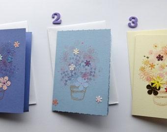 handmade card - greeting card - birthday card - floral card  - uk seller - blank card - sympathy card- thank you card-