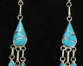 New! Zuni Jewelry Turquoise Sterling Silver Handmade Drop Dangle Chandelier Earrings by Orlinda Natewa