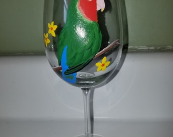 Lovebird wine glass, hand painted