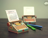 2016 DIY Printable Paper Desk Calendar | Colorful Typewriter Miniature | Printable A4 size template pdf file Instant digital download