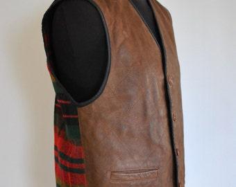 Vintage HUGO BOSS leather vest , men's leather vest country pattern .......