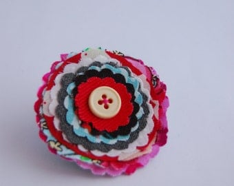 Multi-coloured Layered Flower Brooch