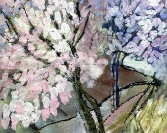 CHERRY BLOSSOM TREES - Fine Art - Original Landscape - Tempera Painting - ElizabethAFox - Tree Painting