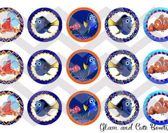 """Finding Dory INSTANT DOWNLOAD Bottle Cap Images 4x6 sheet 1"""" circles"""