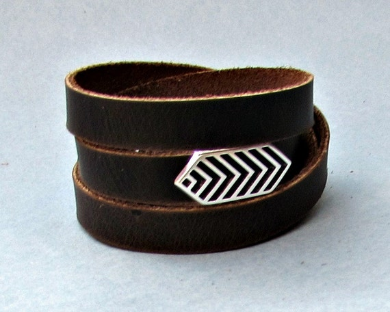 Arrowhead Men's Leather Wrap Bracelet Cuff, Geometric Unisex Bracelet, Adjustable to your wrist