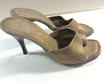 Vintage Donald  J. Pliner Gold Leather High Heels made in the Mountains of Italy Ladies Size 8 1/2 M