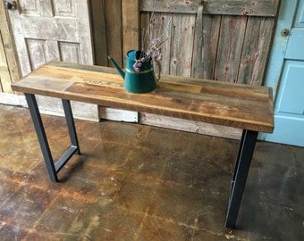 reclaimed wood console table industrial sofa table