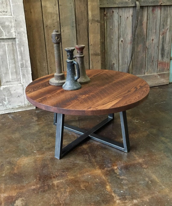 Reclaimed Wood Industrial Round Coffee Table: Round Industrial Coffee Table Reclaimed Wood Steel By Wwmake