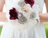 Custom Peonies and Roses Silk Flower Bouquet, Burgundy Champagne Fabric Flower Bouquet, Silver Wedding Bouquet, Bridesmaids Bouquet - 7 inch