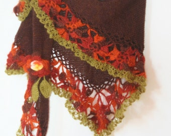 Hand Knitted Crochet Shawl Mohair/Triangle Shawl/ Handmade Shawl Brown