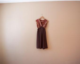 Vintage 70s Sequined Brown Dress - Empire Waist Dress 70s Disco Dress 70s Party Dress 70s Sequin Dress 70s Mini Dress Sequin Dress Short