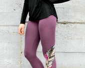 Painted Feather Print, Hand Painted Feather, Bamboo Leggings, Purple Leggings, High Waisted Leggings, Hand Painted Tights