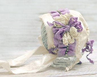 Sophia newborn Bonnet for Baby Girl pink silk  with Muted lavender  Ruffled and Rhinestone Trim, tattered ribbon flower