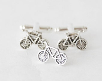 Bicycle GIft Set, Bike Cufflinks and Tie PIn, Cyclist Gifts, Biking Gifts, Bicycle Tie Tack, Cyclist Cufflinks, Vintage Bicycle Gifts, Bikes