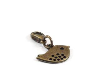Bird Zipper Pull Purse Charm Bronze Clip On Charms