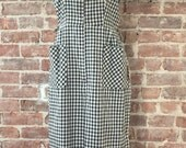 Lucky Day Sale 20% Off 1950s Gingham Day Dress- Vintage Office Dress - Black and White Check Dress