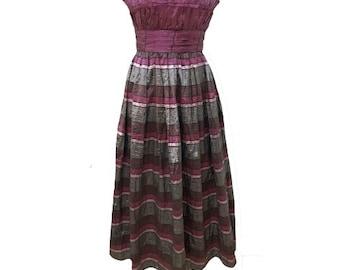 1980s strapless metallic evening dress