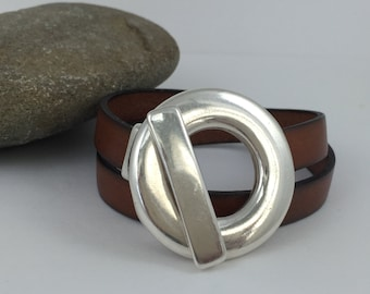 Double Wrap Tan Leather Bracelet with Silver Circle Toggle Clasp, Wrap Bracelet, Leather Bangle, Unisex Leather Bracelet, Tan Silver Clasp
