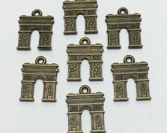 7 Paris arc de triomphe charms bronze tone ,18mm # CH 146
