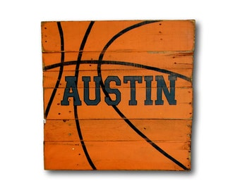 Basketball Sign/ Rustic Sports Decor/ Customized Nursery Sign