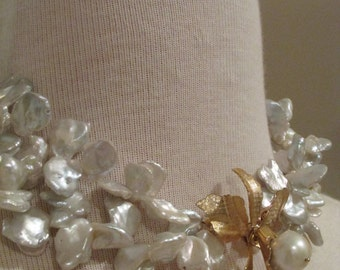Double Strand Keishi Pearl Choker w/ Orchid Brooch/Clasp