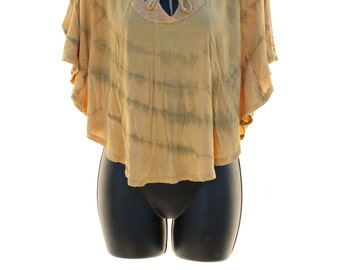 Tie Dye Poncho Top, UpCycled Clothing, Flowy Poncho Top, Juniors Small Clothes, Hippie Top