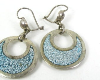 Vintage Sterling Silver Mexico Crushed Turquoise Dangle Ladies Earrings 4.0g  FREE USA Shipping